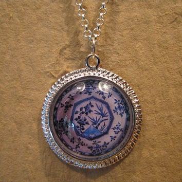 "Large Blue and White Bamboo Pattern Porcelain Plate Domed Cabochon Silver Finish Pendant with 20"" Snake Chain or 24"" Oval Link Chain"