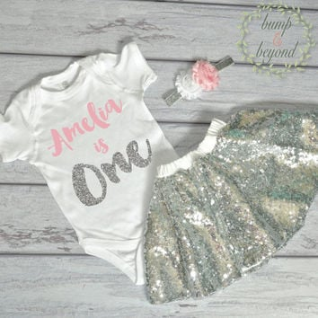First Birthday Outfit Girl One Year Old Girl Outfit Bodysuit, Headband, Sequin Skirt - Pink and Silver Birthday Shirt Personalized 091