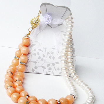 10% OFF ETSY SALE Layered Asymmetric  Orange Jade White Pearls Gold Magnetic Clasp Necklace/ Multi Strand Apricot  Jade White Pearl Necklac