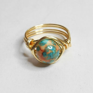 Rainbow Jasper Gemstone Gold Wire Wrapped Ring Sizes 1-14