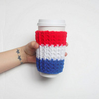 Team Coffee Cozy in Royal Blue, White and Red, ready to ship.