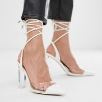 ASOS DESIGN Pucker Up tie leg pointed high heels at asos.com