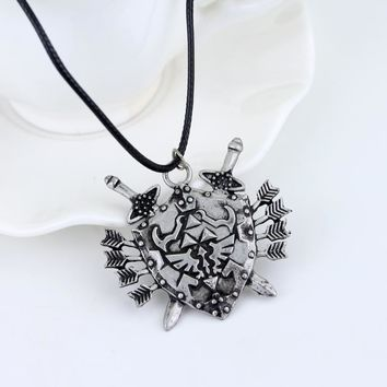 dongsheng The Legend of Zelda Dark Links Hylian Shield Necklace Metal Jewelry Gift Fans Chaveiro Choker Necklace-30