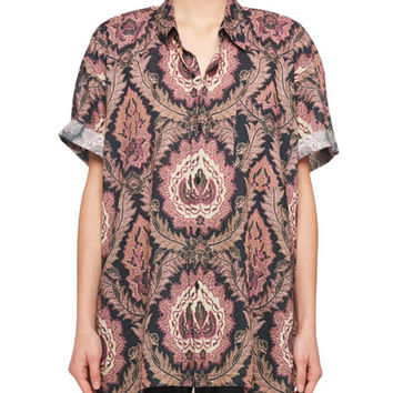 Isabel Marant Paisley-Print Button-Front Short-Sleeve Cotton Top and Matching Items