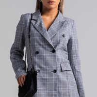 AKIRA Double Breasted Long Sleeve Plaid Houndstooth Blazer in Black
