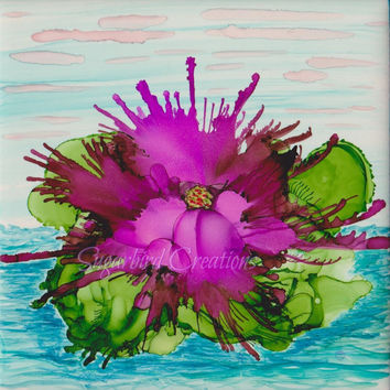 Early Bloom Alcohol Ink Painting on Ceramic Tile with Black Frame or Stand