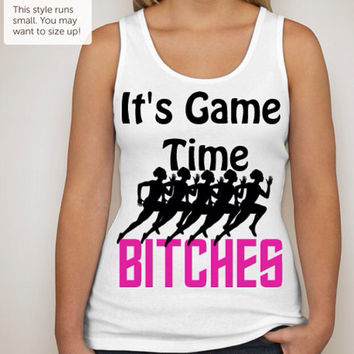 It's Game Time Classic V-Neck Style tag free feminine fit tank top in a large variety of sizes.