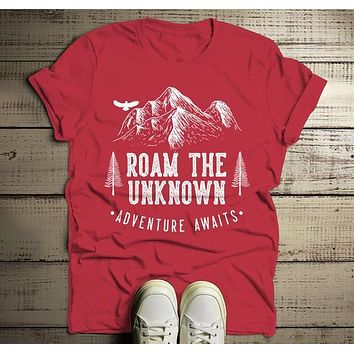 Men's Roam Unknown T Shirt Hipster Camping Shirts Adventure Awaits Mountains Graphic Tee Hipster