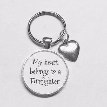 My Heart Belongs To A Firefighter Fireman Wife Girlfriend Gift Keychain