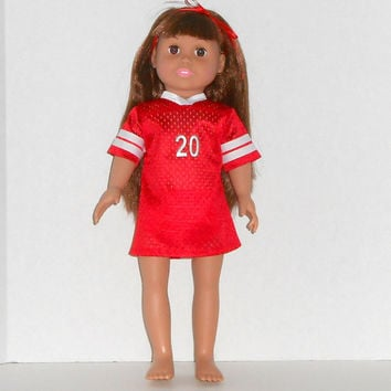 18 inch doll Red and White Football Jersey Nightgown with Panties fits American Girl Doll