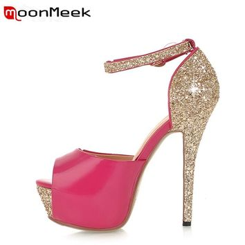 MoonMeek 2017 new arrive women high heels shoes sexy super high women pumps fashion peep toe thin heels ladies prom shoes