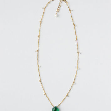 Emerald Green Gem Necklace, Green Quartz, Small Freshwater Pearl Drops, Gold Fill, 16 Inch, 18 Inch