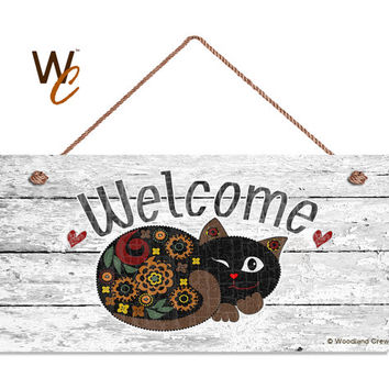 "Welcome Sign, Whimsical Cat Weatherproof, 5"" x 10"" Sign, Rustic Decor, Housewarming Gift, Made To Order"