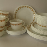 40 piece Corelle / Pyrex Butterfly Gold Dish Set / Vintage Dishes by Feisty Farmers Wife