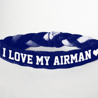 I Love My Airman, Personalized Military Support Bracelet - Army, Air Force, Navy, Wife, Girlfriend, Fiance (women, teen girl)