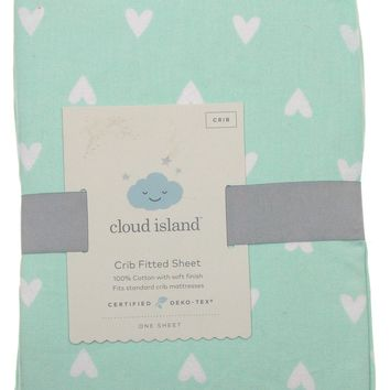 Cloud Island Baby Crib Fitted Sheet Light Green White Hearts 100% Cotton