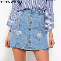 TOTNWANG High Waist Denim Skirts Womens 2017 Autumn Embroidered Short Jeans Skirt Hot Ladies Casual Mini Skirt buttons skirts