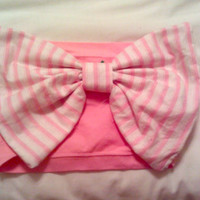 pink and white striped bow bandeau by aznemilyyy on Etsy