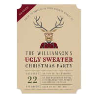 Hipster Reindeer Ugly Sweater Christmas Party Card