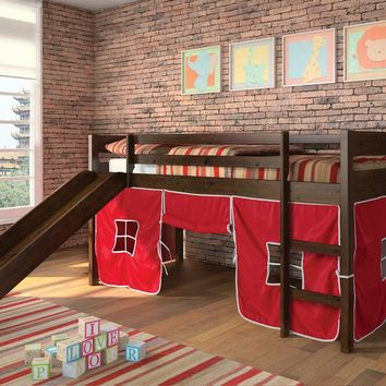Wasila collection espresso finish wood kids loft bed with slide and red or blue tent covering bottom curtains