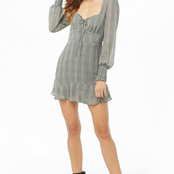 Plaid Flounce-Hem Mini Dress
