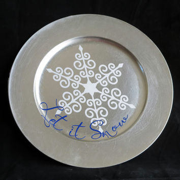Let It Snow Plate, Silver Christmas Charger, Let It Snow Charger, White Blue Vinyl, Snow Decal, Let It Snow Table Charger, Winter Decor 42