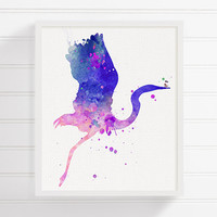 Heron Watercolor Art, Heron Painting, Heron Print, Heron Poster, Girls Room Decor, Nursery Wall Decor, Watercolor Animal, Baby Girl Nursery