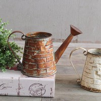 Retro Vintage Iron Brick Design Water Pot Garden Water Can Flower Pot Basket Vase