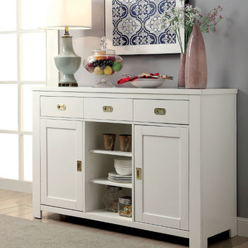 Furniture of america CM3651SV Reidar white finish wood server side board console table cabinet