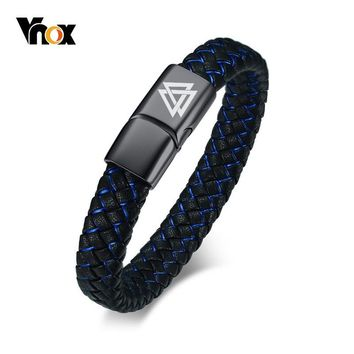 Vnox Men's Real Leather Bracelet Personalize Free Engraving Viking Logo Name Stainless Steel ID Clasp pulseira masculina 8.07""