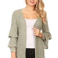 Ruffle Sleeve Sweater Cardigan - Sage
