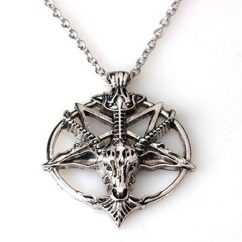 ac DCCKO2Q Baphomet Inverted Pentagram Goat Head Pendant Necklace Baphomet LaVeyan LaVey Satanism Occult Metal Pendant