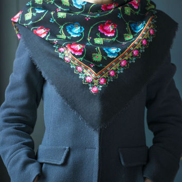 Vintage floral Russian scarf boho peasant scarf red blue roses black background cotton scarf