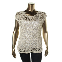 Eileen Fisher Womens Cable Knit Sheer Pullover Sweater