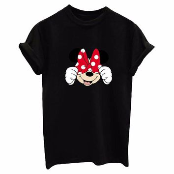 2017 Sexy casual T-shirt Tee Mickey Cute print style  fashion women female O-neck BTS  TOP Loose shortsleeve BTS Kawaii harajuku