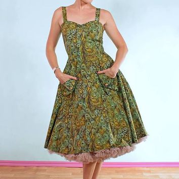 Green Peacock Swing Dress