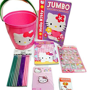 Springtime Fun with Hello Kitty! Jelly Belly Jelly Beans; Sand Bucket Full of Activities For Hours of Creative Fun! Word Search, 12 Pencils, Tatoo, Puffy Stickers, Coloring & Activity Book. 7-pc