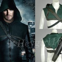 Hot Trendy Green Arrow Oliver Queen Vest Cosplay Costume with Arrow Carrier