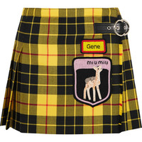Miu Miu - Appliquéd tartan wool mini skirt
