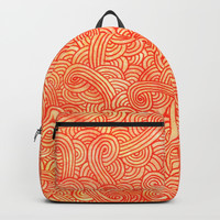 Red and orange swirls doodles Backpacks by Savousepate