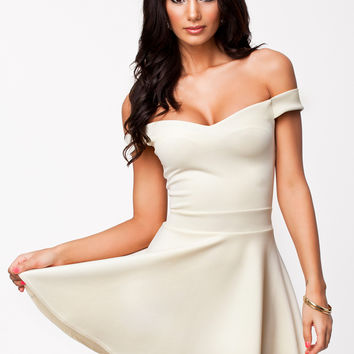 Cream Off Shoulder Skater Dress