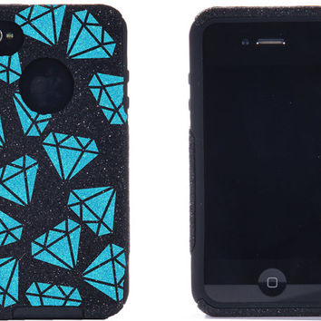 Otterbox iPhone 4 / 4S Case - iPhone 4 Otterbox Cover - Custom Diamonds Pattern Case Glitter Black/Frost for iPhone 4S - iPhone 4S Cover