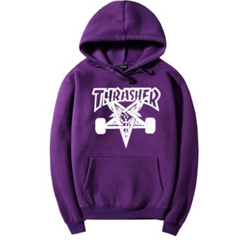 """Thrasher"" Fashion  skateboard leisure loose hooded sweater  Purple (10 color)"