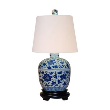 Beautiful Blue and White Porcelain Ginger Jar Table Lamp 14""