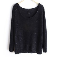 Black Loose Fit Wide Neckline Knit Jumper with Sequin Embellish