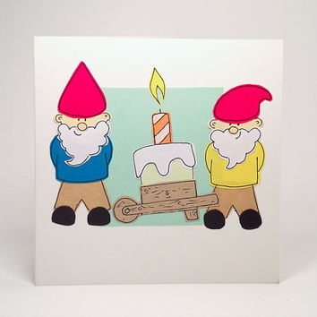 Greeting Card - Two Gnomes Happy Birthday Cake Hadmade Greeting Card