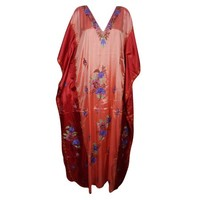 Mogul Womens Kaftan Double Shaded Silk Floral Embroidered Kashmiri Caftan Evening Wear Beach Caftans Dresses Kaftan Maxi Dress Red Peach Cover Up Gift For Fall Winter - Walmart.com