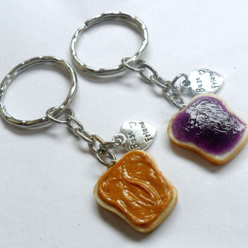 Peanut Butter and Jelly Keychain Set, With Best Friend Charms, BFF Keychains :)