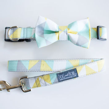 Dog Bow Tie In Geometric Mint Gray Yellow, Dog Collar, Dog Leash