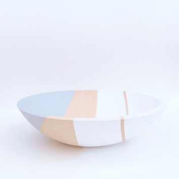 Modern Pastel Hardwood Serving Bowl, Arctic White Dove Gray